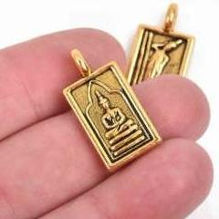 4 THAI BUDDHA charm pendants, antiqued gold metal, rectangle religious icon relic charm, double sided, 26x13mm, chs2907