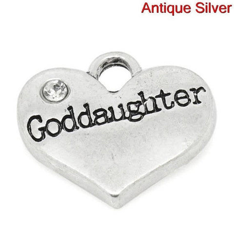 "1 ""Goddaughter"" Heart Charm Antique Silver Rhinestone Pendant 16x14mm, chs2231a"