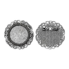 "5 Silver Circle Round Brooch Pin with Filigree Bezel Cabochon Tray, 1"" Bezel Tray (fits 25mm) pin blanks, pin0091a"