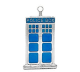 1 Large Blue Enamel and Silver Metal POLICE BOX Charm Pendant. Che0019