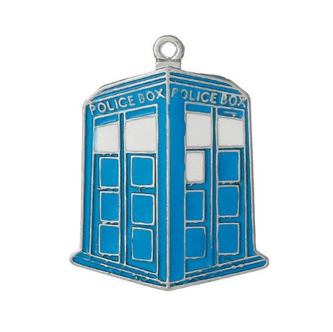 1 Large Blue Enamel and Silver Tone POLICE BOX Pendant, Phone Box Charm, Blue Police Box, 42x33mm, che0513