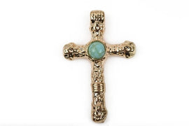 2 Light Gold and Turquoise CROSS Pendants, Light gold base with turquoise cabochon, rustic metal, 40x25mm, chg0410