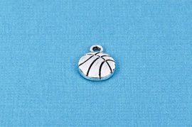 6 Silver Metal BASKETBALL Charm Pendants chs0665