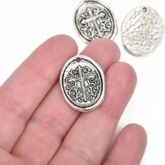 5 Silver Cross Relic Charm Pendants, wax seal style, oval coin charms, Silver plated metal, double sided design, 27x21mm, chs2861