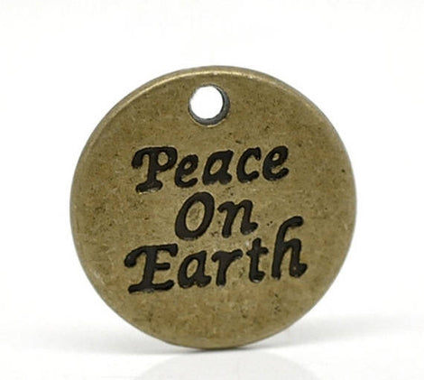 10 Antique Bronze Tone Metal Stamped PEACE ON Earth Circle Charm Pendants. chb0025