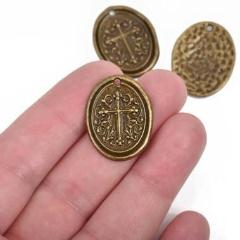 5 Bronze Cross Relic Charm Pendants, wax seal style, oval coin charms, Bronze plated metal, double sided design, 27x21mm, chs2862