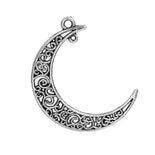 5 Silver FILIGREE MOON Charm Pendants, Large Crescent Moon, 41x36mm, chs2449