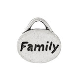 "10 Antique Silver Stamped ""Family"" Oval Charm Pendants  chs1428"