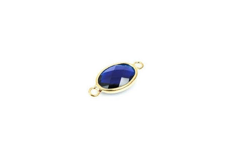 "1 Oval Gold Brass Connector Link Charm, faceted COBALT BLUE Glass, 21x10mm, 7/8"" long September Birthstone chg0237"
