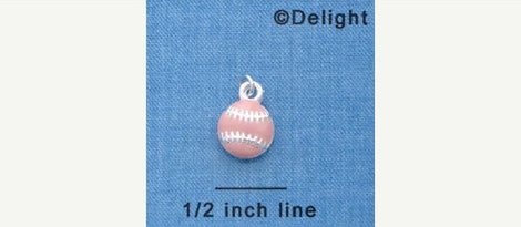 1 Silver Plated Charm Pendant, PINK SOFTBALL   che0283
