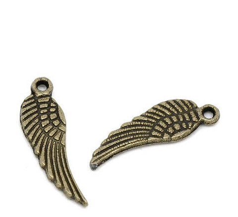 20 Small Antique Bronze Metal ANGEL or BIRD Wing Charm Pendants. chb0137