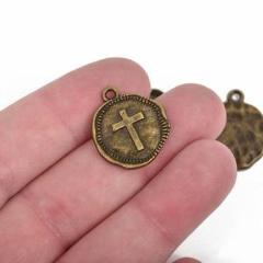 10 Bronze Coin Relic Charm Pendants, Cross with wax seal, round coin charms, 22x19mm, chb0510