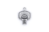 10 Antique Silver BASKETBALL and HOOP Charm Pendants  chs1384