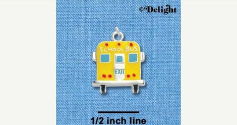 1 silver plated enamel YELLOW SCHOOL Bus Charm  che0296