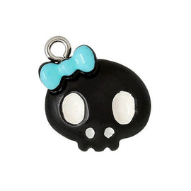 5 Cute Black with Blue Bow Resin SKULL Charm Pendants  cha0135