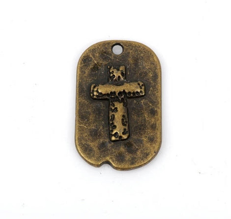 5 Bronze Rustic Cross Dog Tag Charm Pendants, Metal Cross Charms, Hammered Metal, Embossed Cross, 29x18mm, chb0426