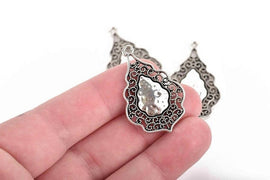 5 Antiqued Silver Charms, fancy Victorian filigree design, teardrop charms, 37x25mm, chs2957