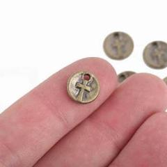 10 Bronze CROSS Dot Charms, relic charms, round coin charms, 10mm, chs2970