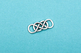 "10 DOUBLE INFINITY Charm Connector Links, silver tone metal, 1-1/4"" x 1/2"".  Chs1695"