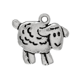 10 SHEEP Charm Pendants, LAMB Charm Pendants, antiqued silver metal, woolly sheep charms, animal charms,  chs1355a