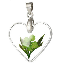 1 Acrylic Pendant, Natural REAL FLOWERS, Light Green Flower with Leaves, heart shape, silver bail, 29x22mm, cha0188