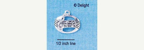 1 Silver Plated Charm Pendant, Music STAFF Oval   chs1146