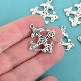 5 Silver Cross Fleury Relic Charms, Fleur de Lis Cross, Silver Hammered Plated Metal, double sided design, 30x28mm, chs2960