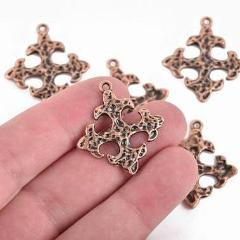 5 Copper Ox Cross Fleury Relic Charms, Fleur de Lis Cross, Hammered Plated Metal, double sided design, 30x28mm, chs2964