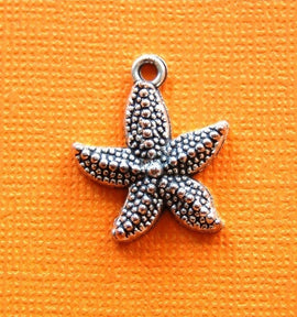 12 STARFISH silver charms 22mm x 19mm chs0699