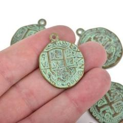 5 Bronze Coin Relic Charm Pendants, round coin charms, green verdigris patina bronze plated metal, double sided design, 30x25mm, chb0467