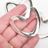 "2 Large Silver Sideways HEART Connector Links, 50x44mm, (2"" wide) chs2829"