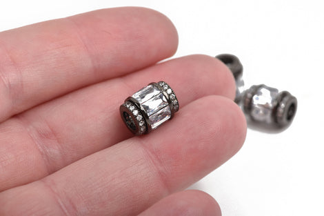 11x9mm Barrel Beads, Micro pave' hand-set crystals with Cubic Zirconia Stones, Large Hole, GUNMETAL BLACK, cho0189