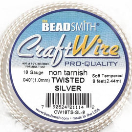 18 gauge TWISTED SILVER Craft Wire, Tarnish Resistant Craft Wire, wire wrapping, copper wire with silver plating, 2.7 yards (8 feet) wir0061