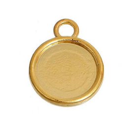 10 Gold Round Circle CABOCHON SETTING Bezel Frame Charm Pendants (fits 12mm cabs), Double sided can fit 2 cabochons, chs3006a