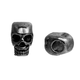 30 Gunmetal Metal SKULL Beads, Large Hole, drilled top to bottom, great for leather cord, 12mm, bme0410b