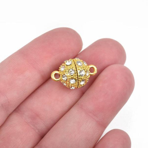 12mm Gold Magnetic Rhinestone Ball Clasp with Pave' RHINESTONES, 2 sets, fcl0233