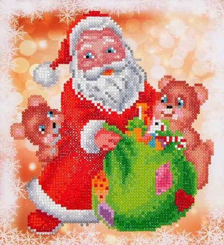 "Rhinestone Painting Kit, SANTA & TEDDIES, Diamond Dotz Diamond Embroidery, Diamond Facet Art Kit, Bling Wall Art, 9""x9.8"" canvas kit0053"