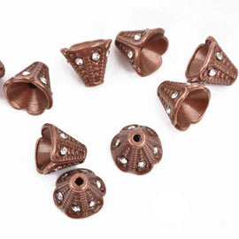 6 Rhinestone CONE BEAD CAPS, copper with embedded clear crystals, fits up to 8mm beads, 11x9mm, fin0670