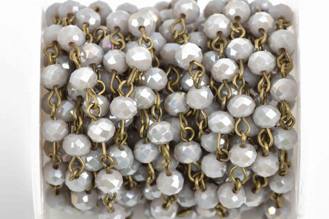 1 yard (3 feet) HEATHER GREY Crystal Rondelle Rosary Chain, bronze, 6mm faceted rondelle glass beads, fch0590a