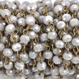 4.33 yard (13 feet) HEATHER GREY Crystal Rondelle Rosary Chain, bronze, 6mm faceted rondelle glass beads, fch0590b
