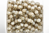 13 feet (4.33 yards) IVORY Off White Crystal Rondelle Rosary Chain, bronze wire, 6mm faceted rondelle glass beads, fch0591b