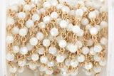 13 feet WHITE AB Crystal Rosary Chain, bright gold links, 4mm round faceted crystal bead chain, fch0595b