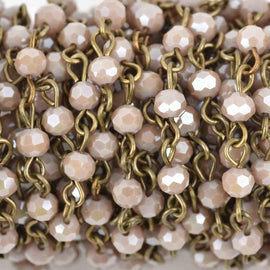 13 feet LIGHT MUSHROOM Crystal Rosary Chain, bronze links, 4mm round faceted crystal bead chain, fch0596b