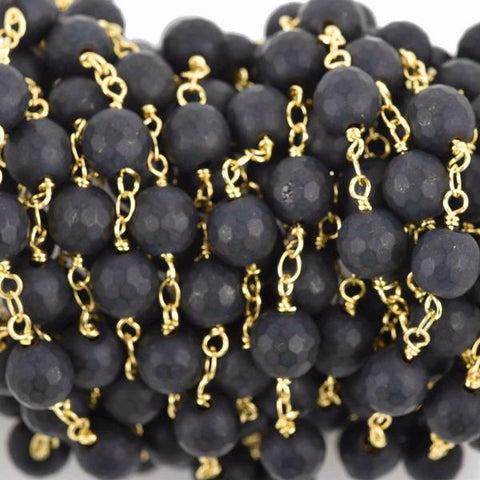 1 yard (3 feet) BLACK ONYX MATTE Rosary Chain, bright gold links, 8mm round faceted gemstone beads, fch0608a