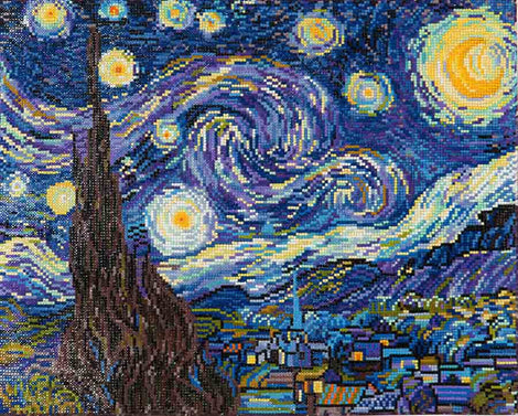 "Rhinestone Painting Kit, STARRY NIGHT Van Gogh, Diamond Dotz Diamond Embroidery, Diamond Facet Art, Bling Wall Art 20x16"" canvas kit0087"