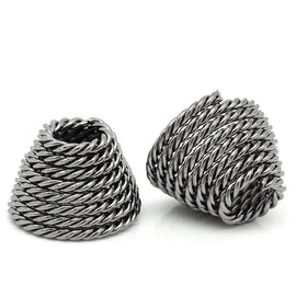 "6 Large Bead Caps Cone Shape Spiral Gunmetal (Fits up to 23mm Beads) 14mm x 10mm ( 1/2""x 3/8"")  fin0121"