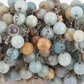 1 yard AMAZONITE GEMSTONE Rosary Chain, gunmetal, 8mm round gemstone beads, fch0618a