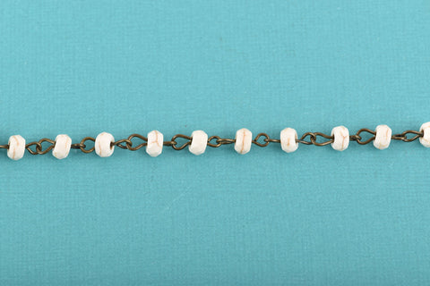 13 feet (4.33 yards) WHITE Howlite Rosary Chain, bronze wire links, 6mm RONDELLE stone bead chain, fch0620b