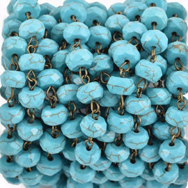 3 feet (1 yard) TURQUOISE BLUE Howlite Rosary Chain, bronze wire links, 10mm RONDELLE stone bead chain, fch0623a