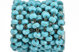 13 feet (4.33 yards) TURQUOISE BLUE Howlite Rosary Chain, bronze wire links, 10mm RONDELLE stone bead chain, fch0623b
